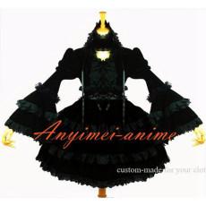 Gothic Lolita Dark Punk Black Velvet Dress Cosplay Costume Custom-Made[G611]