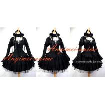 Gothic Lolita Dark Punk Black Cotton Dress Cosplay Costume Custom-Made[G647]