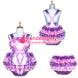 Adult baby lilac-pink satin Romper Unisex tailor-made[G3905]