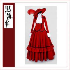 Black Butler Kuroshitsuji Madame Red Hat Dress Cosplay Costume Tailor-Made[CK1359]