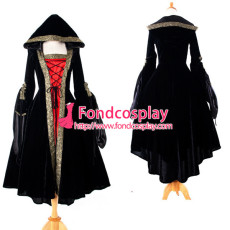 High Quailty Medieval Renaissance Gown Victorian Rococo Gown Black And Red Ball Miko Velvet Dress Custom-Made[G925]
