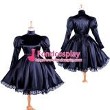 Lockable Gothic Lolita Punk Black Satin Dress Tailor-Made[G1364]