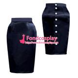 black satin button hobble  skirt unisex Tailor-made[G3889]