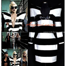 Usa Lady Gaga Style Elephone Black And White Stripe Pvc Dress Cosplay Costume Tailor-Made[G460]