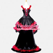 Chobits Chii Beautiful Punk Gothic Lolita Satin Dress Cosplay Costume Custom-Made[G766]