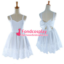 Lovely Lolita Cotton White Backless Dress Cosplay Costume Tailor-Made[G940]