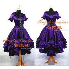 Gothic Lolita Chobits Chii Grape Purple Satin Dress Cosplay Costume Tailor-Made[G666]