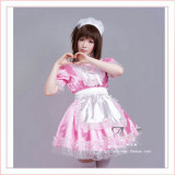 Sexy Sissy Maid Satin Pink Dress Lockable Uniform Cosplay Costume Tailor-Made[G358]