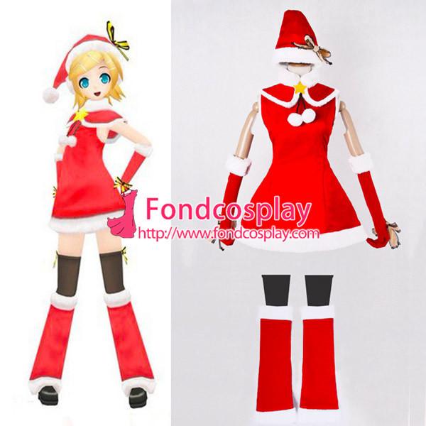 Vocaloid 2 Hatsune Miku Dress Christmas Velvet Cosplay Costume Custom-Made[G852]