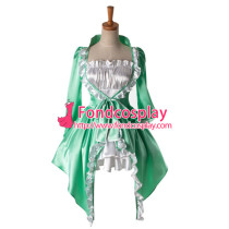 Beautiful Green And White Sweet Lolita Satin Dress Cosplay Costume Tailor-Made[G927]