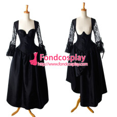 Sexy Gothic Lolita O Dress The Story Of O With Bra Black Satin Maid Dress Cosplay Costume Custom-Made[G920]