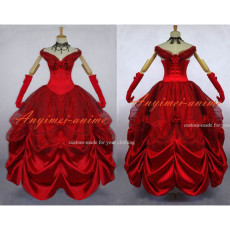 Red Belle Princess Dress Ball Gown Movie Cosplay Costume Custom-Made[G641]