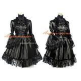 Gothic Lolita Punk Black Satin Dress Tailor-Made[G402]