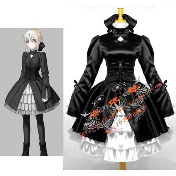 Fata Stay Night Saber Alternative Black Satin Dress Cosplay Costume Tailor-Made[CK710]