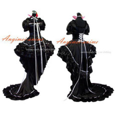 Chobits-Chii Black Satin Dress Cosplay Costume Tailor-Made[G426]