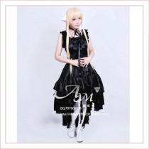 Gothic Lolita Chobits Chii Black Satin Dress Cosplay Costume Tailor-Made[G648]