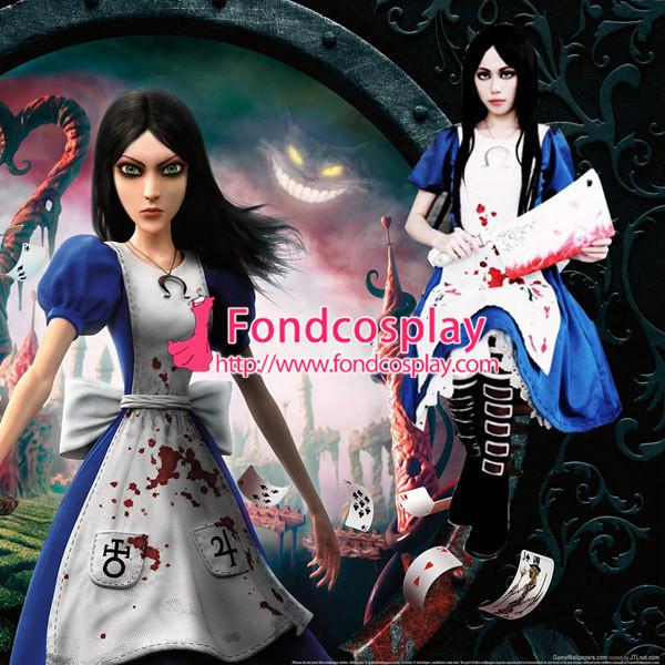Alice Madness Returns Cotton Maid Dress Game Cosplay Costume Custom-Made[G997]