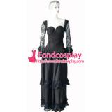 O Dress The Story Of O With Bra Gothic Punk Black Taffeta Dress Cosplay Costume Custom-Made[G147]
