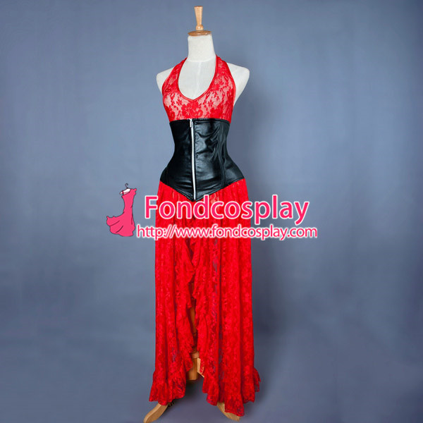 Sexy Gothic Lolita O Dress The Story Of O With Bra Satin Maid Dress Cosplay Costume Custom-Made[G838]