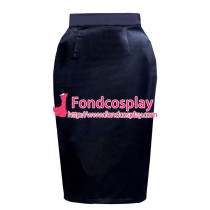 black satin button hobble  skirt unisex Tailor-made[G3889]