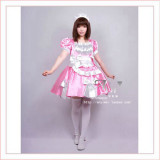 Sexy Sissy Maid Satin Pink Dress Uniform Cosplay Costume Tailor-Made[G363]