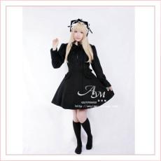 Gothic Lolita Punk Wool Black Coat Jacket Dress Cosplay Costume Custom-Made[G662]