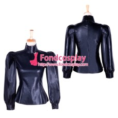 Fetish Gothic Faux Leather Blouse Shirt Cosplay Tailor-Made[G1759]