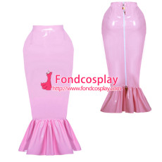 lockable pink PVC fishtail hobble skirt unisex Tailor-made[G3890]