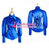 Blue Satin Shirt Bow Tie Blouse Cosplay Costume Tailor-Made[G1035]