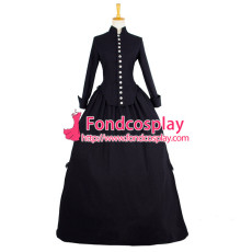 Black Victorian Rococo Medieval Gown Gothic Ball Dress Cosplay Costume Custom-Made[G845]