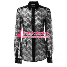 Black Lace Shirt Blouse Transparent Cosplay Costume Tailor-Made[G1041]