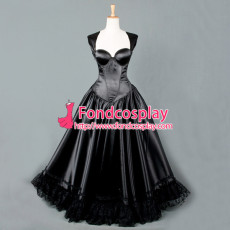 O Dress The Story Of O With Bra Black Satin Cosplay Costume Tailor-Made[G836]