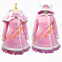 Gothic Lolita Punk Wool Pink Coat Dress Cosplay Costume Custom-Made[G672]