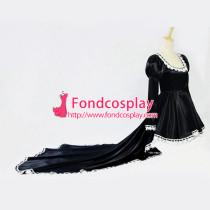 Anime Chii Chobits Freya Black Satin Dress Cosplay Costume Custom-Made[G607]