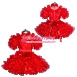 French Sissy maid Satin lockable dress Uniform cosplay costume Tailor-made[G3939]