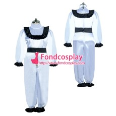 French Sissy maid Satin lockable Jumpsuits Uniform cosplay costume Tailor-made[G3938]