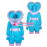 French Sissy maid PVC lockable Jumpsuit Uniform cosplay costume Tailor-made[G3944]