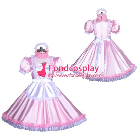 French Sissy maid Satin lockable dress Uniform cosplay costume Tailor-made[G3945]
