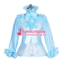 French Sissy maid glass silk lockable shirt Uniform cosplay costume Tailor-made[G3950]