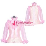 French Sissy maid glass silk lockable shirt Uniform cosplay costume Tailor-made[G3951]
