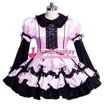 French Sissy maid satin lockable dress Uniform cosplay costume Tailor-made[G3964]