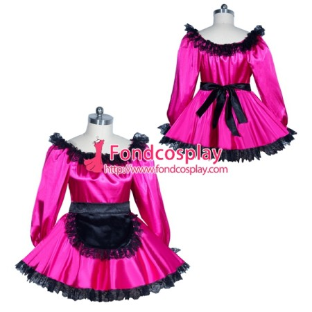 French Sissy maid satin dress Uniform cosplay costume Tailor-made[G3962]