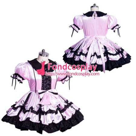 French Sissy maid satin lockable dress Uniform cosplay costume Tailor-made[G3965]