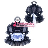 French Sissy Maid Lockable Black Satin Dress Uniform Cosplay Costume Tailor-made[G3969]