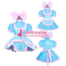 French Sissy Maid Lockable Blue Pvc Dress Uniform Cosplay Costume Tailor-made[G3967]