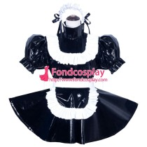French Sissy Maid Lockable Black PVC Dress Uniform Cosplay Costume Tailor-made[G3970]
