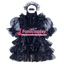 French Sissy Maid Lockable Black Satin Dress Uniform Cosplay Costume Tailor-made[G3968]