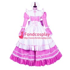 French Sissy Maid Lockable Hot Pink PVC Dress Uniform Cosplay Costume Tailor-made[G3975]