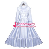 French Sissy Maid Lockable Satin Dress Uniform Cosplay Costume Tailor-made[G3972]
