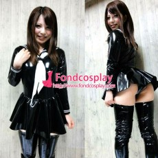 French Sissy Maid Lockable Black PVC Dress Uniform Cosplay Costume Tailor-made[G3976]